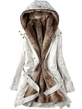Winter Faux Fur Sections Liner Hooded Womens Overcoat