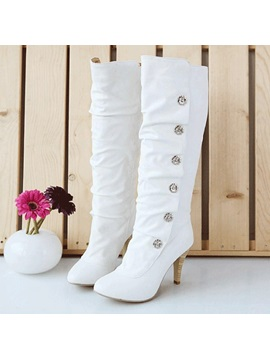 White Pu Stiletto Heel Boots With Studs