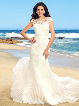 Dazzling Beaded Lace Pleats Trumpet Beach Wedding Dress