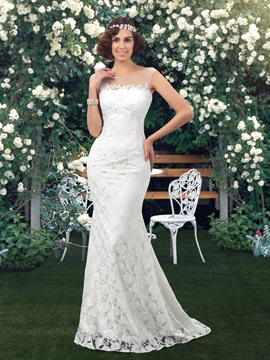 Dazzling Sheer Jewel Neck Ivory Mermaid Lace Wedding Dress
