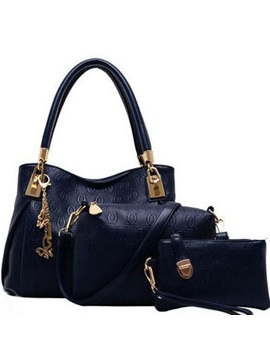 Classy Three Piece Bag Set With Metal Decorated