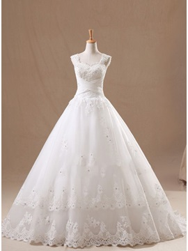 Straps Beaded Appliques Sweetheart A Line Wedding Dress