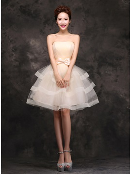Strapless A Line Tiered Bowknot Knee Length Sweet 16 Dress