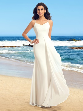 Beaded Spaghetti Straps V Neck Beach Wedding Dress