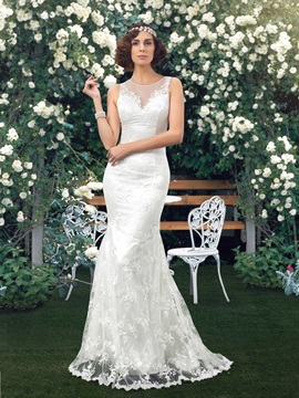 High Jewel Neck Sheer Back Floor Length Mermaid Lace Wedding Dress