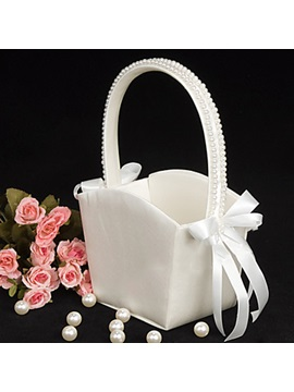 Flower Basket With Bow Faux Pearl