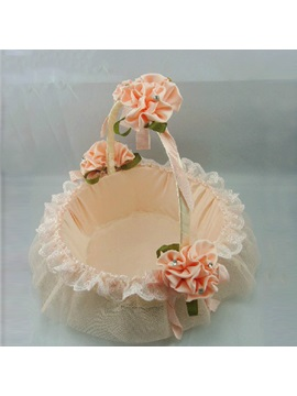Princess Pink Rose Basket In Satin Lace