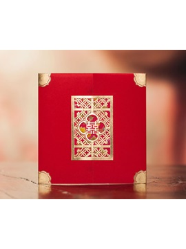 Red Wrap Pocket Invitation Cards 20 Pieces One Set