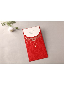 Classic Style Red Wrap Pocket Wedding Invitation Cards 20 Pieces One Set