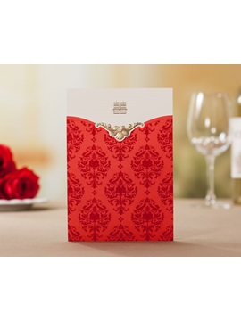 Red Floral Style Top Fold Wedding Invitation Cards 20 Pieces One Set