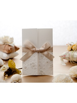Wrap Pocket Invitation Cards With Bows 20 Pieces One Set