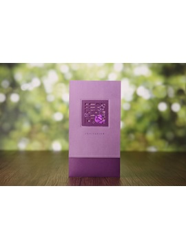 Classic Style Purple Wrap Pocket Invitation Cards 20 Pieces One Set