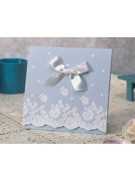 Clclassic Style Tri Fold Invitation Cards With Bows Ribbons 20 Pieces One Set