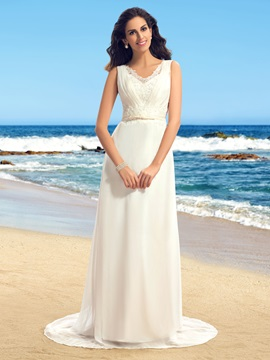 Admirable Lace V Neck Sleeveless Sweep Train Beach Wedding Dress
