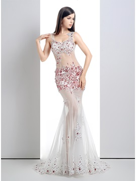 Straps Appliques Beading Sequins Tulle Back Long Pageant Dress