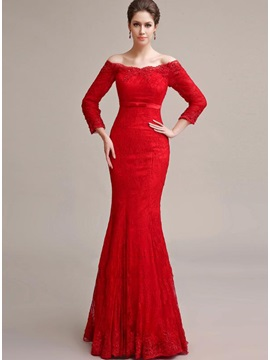 Elegant Mermaid 3 4 Length Sleeves Off The Shoulder Lace Appliques Long Evening Dress