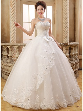 Beaded Appliques Bowknot Ball Gown Wedding Dress