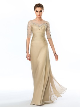 Delicate Sheer Neckline Half Sleeves Beading Floor Length Evening Dress