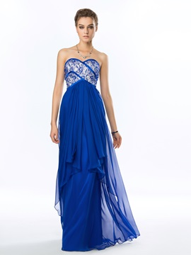 Delicate Heart Beading Lace Strapless Chiffon Long Prom Dress
