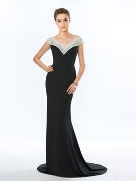 Elegant Mermaid V Neck Beading Court Train Long Evening Dress