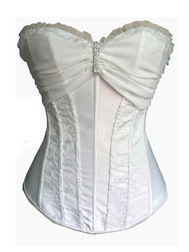 White Black Rhinestone Decorated Lace Corset