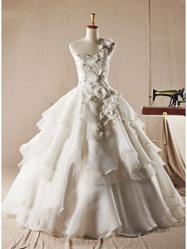 One Shoulder Flowers Beading Ball Gown Tiered Wedding Dress