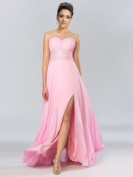 Bright Bateau Neckline Beading Pearls Split Front Long Prom Dress