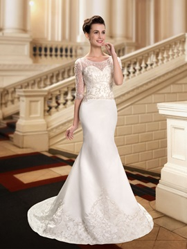 Beaded Sheer Scoop Neck Embroidered Mermaid Wedding Dress With Sleeves