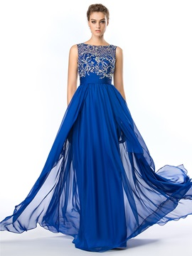Bateau Neck Beading Dark Royal Blue Prom Dress