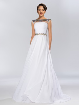 Dazzling A Line Bateau Neckline Beading Sweep Train Long Evening Dress