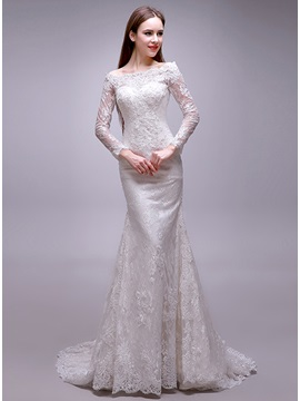 Eye Catching Bateau Neck Long Sleeve Mermaid Lace Wedding Dress