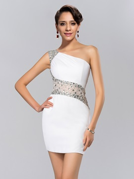 Sheath Beading One Shoulder Short Cocktail Dress