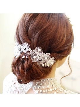 Crystal Flowers With Pearl Headwear