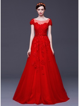 Dramatic Tulle Neckline Lace Appliques Sequins Short Sleeves Long Evening Dress