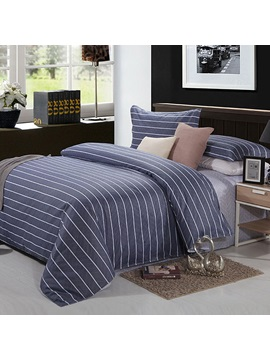Handsome Simple Stripe Cotton 4 Piece Bedding Set