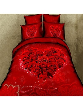 Romantic Heart Shaped Red Rose Printed Cotton 4 Piece 3d Bedding Set