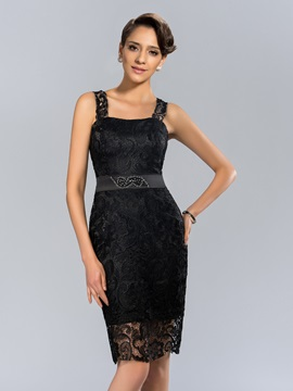 Straps Column Lace Beading Knee Length Formal Dress