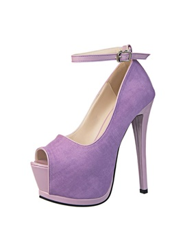 Solid Color Peep Toe Ankle Strap Pumps