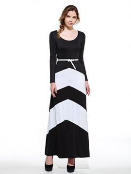 Color Block Stripe Long Sleeve Womens Maxi Dress