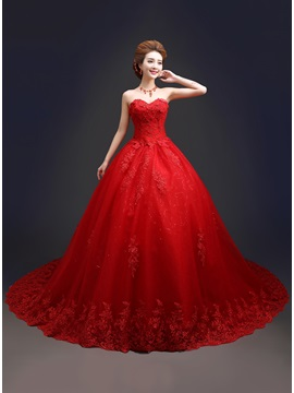 Sweetheart Lace Ball Gown Red Cathedral Wedding Dress