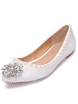 Stylish White Pearl Rhinestone Studded Flats
