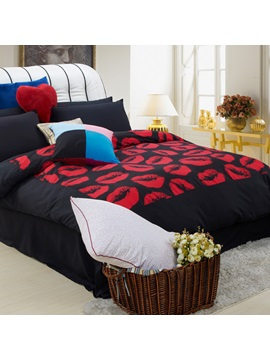 Personalized Lips Printed Sueded 4 Piece Bedding Set