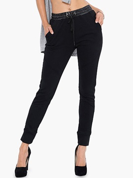Black Pu Lace Up Pants