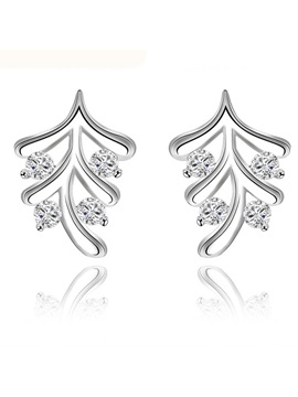 Leaves Shaped With Crystal Earrings