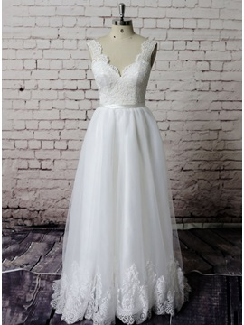 Simple Floor Length A Line Ivory Lace Wedding Dress
