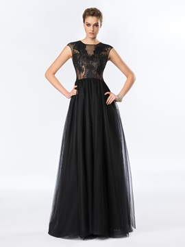 Timeless Cap Sleeves A Line Lace Evening Dress Designed