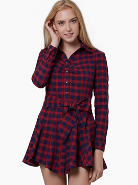 Red Plaid Single Breasted Long Sleeve Casual Dress