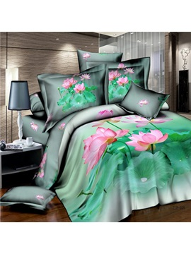 Blooming Lotus Cotton 4 Piece 3d Bedding Set