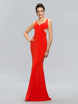Graceul V Neck Straps Sheath Beading Zipper Up Long Evening Dress