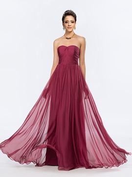 Elegant Ruched Sweetheart Chiffon Bridesmaid Dress